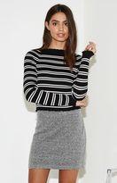 KENDALL + KYLIE Kendall & Kylie Lettuce Edge Stripe Sweater Top