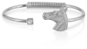 2028 Silver-Tone Clear Crystal and Horse Accent Hinge Bracelet