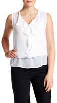 Laundry by Shelli Segal Sleeveless Front Ruffle Blouse