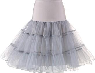DESIBA Women Girls Short High Waist Pleated Skirt Ladies High Waist Mesh Tutu Skirt Prom Dress Ballet Skirt(Gray)