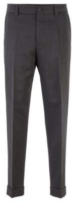 BOSS Cropped relaxed-fit trousers in virgin wool