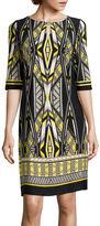Studio 1 Elbow-Sleeve Geometric Print Shift Dress