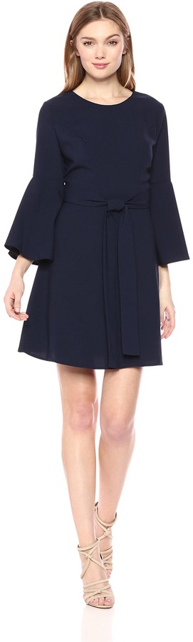 J.o.a. Women's FIT Dress with Flare Sleeve Cut Out Back and SASH