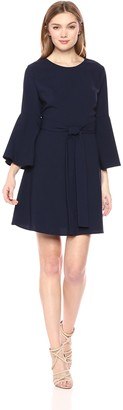 J.o.a. Women's FIT & Flare Dress with Flare Sleeve Cut Out Back and SASH