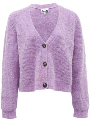 Ganni Cropped V-neck Cardigan - Lilac