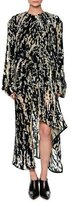 Marni Haze-Print Velvet Devoré Long-Sleeve Dress, Blue/Multi