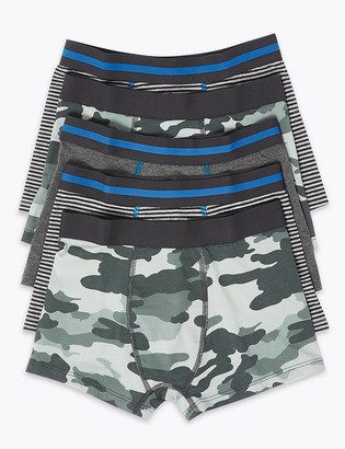 Marks and Spencer 5 Pack Cotton with Stretch Camo Trunks (2-16 Yrs)