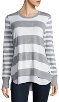 Calvin Klein Mock Hem Striped Sweater