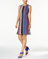 Ronni Nicole Striped Pleated Shift Dress