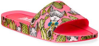 Melissa Shoes Llama & Cactus Print Beach Slide Sandals
