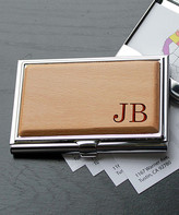 Etchey Card Holders Wood/Silver - Silver & Wood Initial Business Card Holder