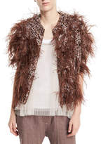 Brunello Cucinelli Cap-Sleeve Zip-Front Cashmere Cardigan with Feathers & Sequins