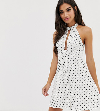 ASOS DESIGN Petite halter neck button through mini sundress in spot