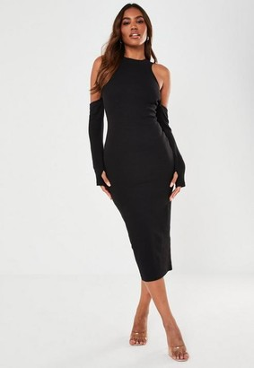 Missguided Black Rib Cold Shoulder Midaxi Dress