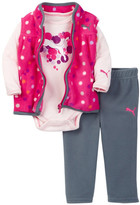 Puma Bodysuit, Polka Dot Fleece Vest & Pant Set (Baby Girls 12-24M)