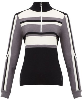 Bogner Dafne Half-zip Striped Wool-blend Sweater - Womens - Black