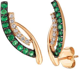 LeVian Le Vian 14K Rose Gold 0.30 Ct. Tw. White Diamond & Emerald Earrings