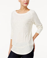 Style&Co. Style & Co Mixed-Media Raglan-Sleeve Top, Only at Macy's