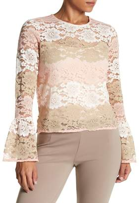 Vertigo Multicolor Floral Lace Bell Sleeve Top