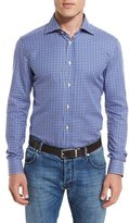 Kiton Small-Check Woven Dress Shirt, Blue