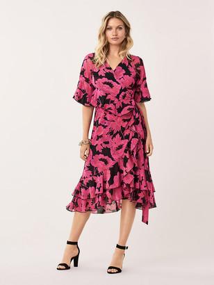 Diane von Furstenberg Zion Ruffled Mesh Wrap Dress