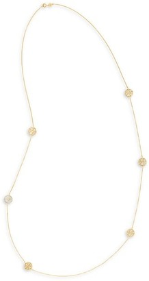 Tory Burch Kira Grey Agate & Mother-of-Pearl Long Necklace