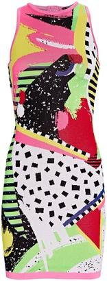 Balmain 80s Knit Jacquard Mini Dress