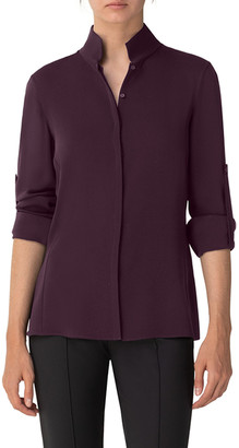 Akris Silk Keyhole Tab Sleeve Button-Down Blouse