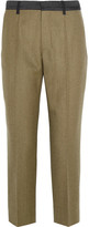 Maison Margiela Cropped Wool-gabardine Slim-leg Pants - Army green