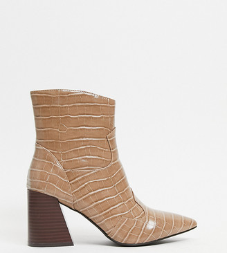 Simply Be Wide Fit heeled boots in taupe croc