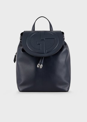 Giorgio Armani Leather Backpack With Embossed Logo