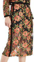 Topshop Floral Embroidered Midi Skirt