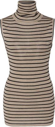 Brunello Cucinelli Striped Stretch-Lurex Turtleneck Top