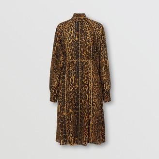 Burberry Embellished Leopard Print Silk Dress