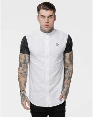 SikSilk Men's Raglan Button-Up T-Shirt