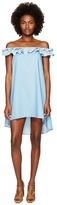 Jonathan Simkhai Chambray Denim Off Shoulder Ruffle Dress Cover-Up Women's Swimwear