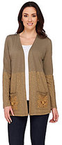 As Is LOGO by Lori Goldstein Open Front Cardigan with Embellishments
