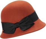 Orange Wool Flapper Bow Cloche