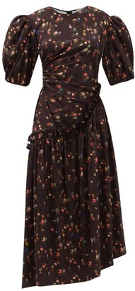 Preen by Thornton Bregazzi Akito Floral-print Recycled-fibre Satin Dress - Black Multi