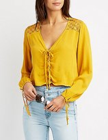Charlotte Russe Lace-Trim Lace-Up Skimmer Top