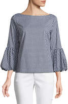 Laundry by Shelli Segal Balloon-Cuff Gingham Blouse