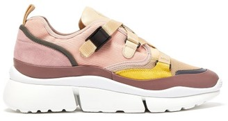 Chloé Sonnie Raised-sole Canvas And Leather Trainers - Womens - Nude Multi
