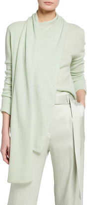 Sally LaPointe Cashmere Scarf-Neck Sweater, Light Green