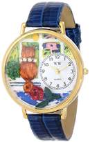 Whimsical Watches Aristo Cat Royal Blue Leather and Goldtone Unisex Quartz Watch with White Dial Analogue Display and Multicolour Leather Strap G-0120001