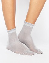 Monki Lurex Frill Detail Sock