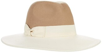 San Diego Hat Company Color-Blocked Fedora with Bow (Tan) Fedora Hats