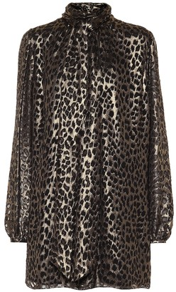 Saint Laurent Leopard-brocade minidress