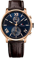 Tommy Hilfiger Men's Sophisticated Sport Brown Leather Strap Watch 44mm 1791308