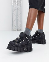 New Rock chunky leather lace up sneakers in black