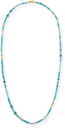 "Splendid Company 18k Bohemian Mixed-Stone Necklace, 48""L"